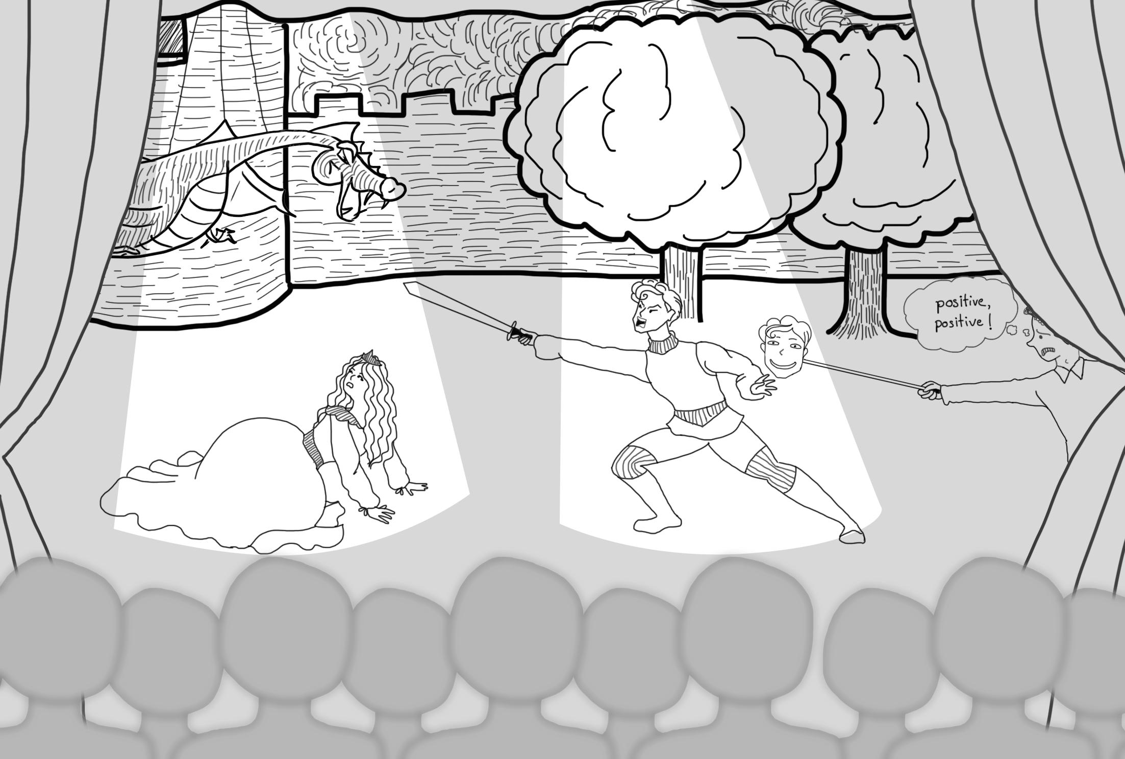 Des acteurs jouent une scène de conte : un homme armé défend une princesse menacée par un dragon. Le metteur en scène anxieux tente d'interposer un masque béat pour éviter d'offrir un visage négatif au public. Le story telling aussi doit inclure sa part de négativité.