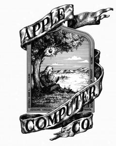 Premier logo d'Apple représentant Newton, travillant sous une pomme prête à choir.