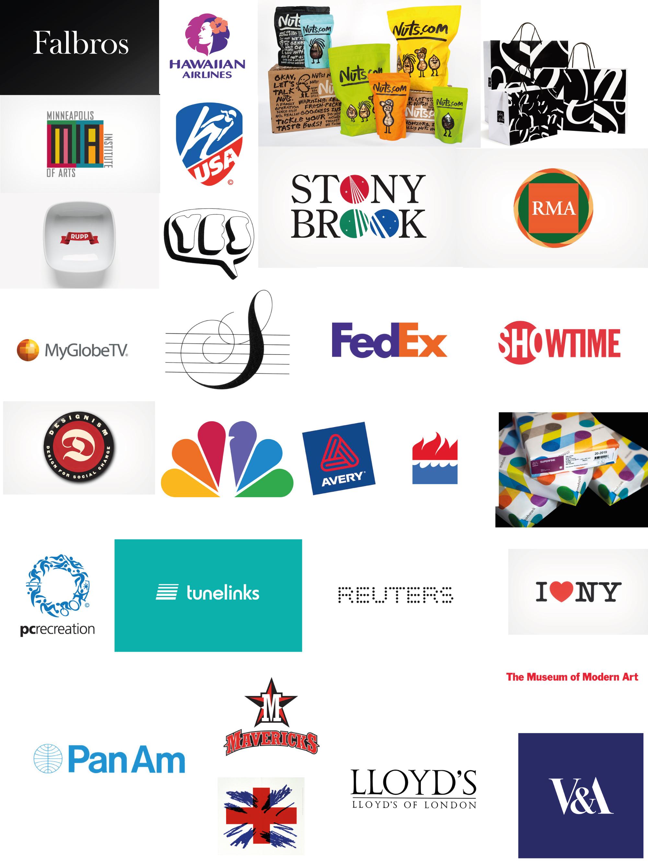 logos de designers célèbres mélangés